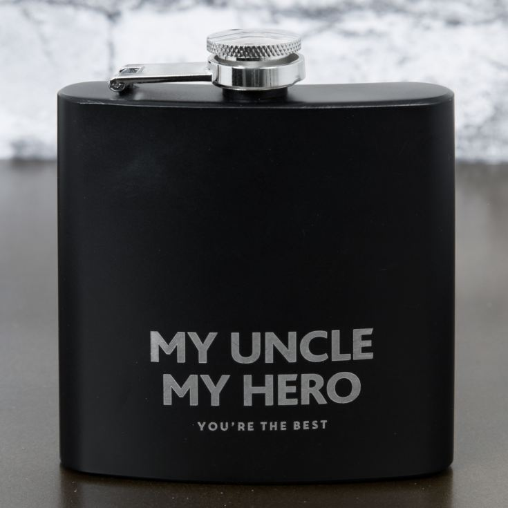 Hero Black Finish Rectangular Hipflask - My Uncle product image