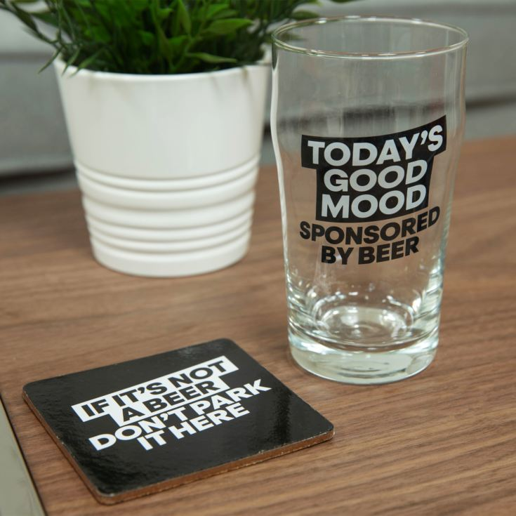 Ministry Of Humour Beer Glass & Coaster - Today's Good Mood product image