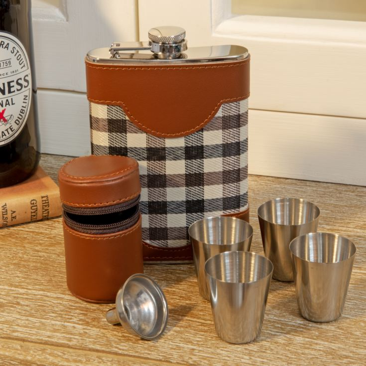 Chequer 8oz Faux Leather Hip Flask & Shot Glass - Engravable product image