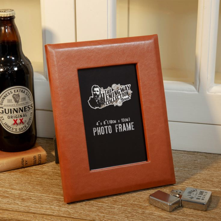 "4"" x 6"" - Hemmingway Faux Leather Photo Frame with Gift Box product image"