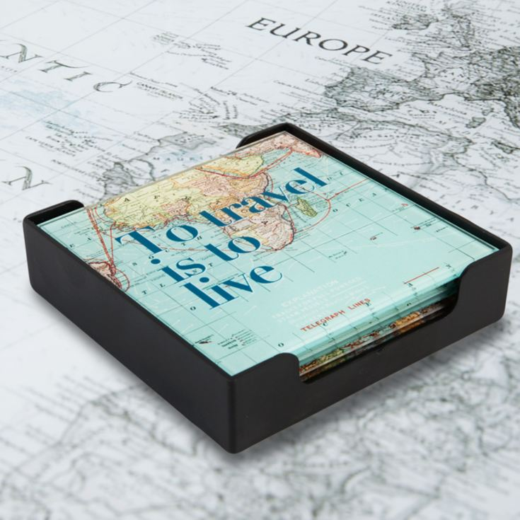 Explore Set of 4 World Map Glass Coasters in Tray product image