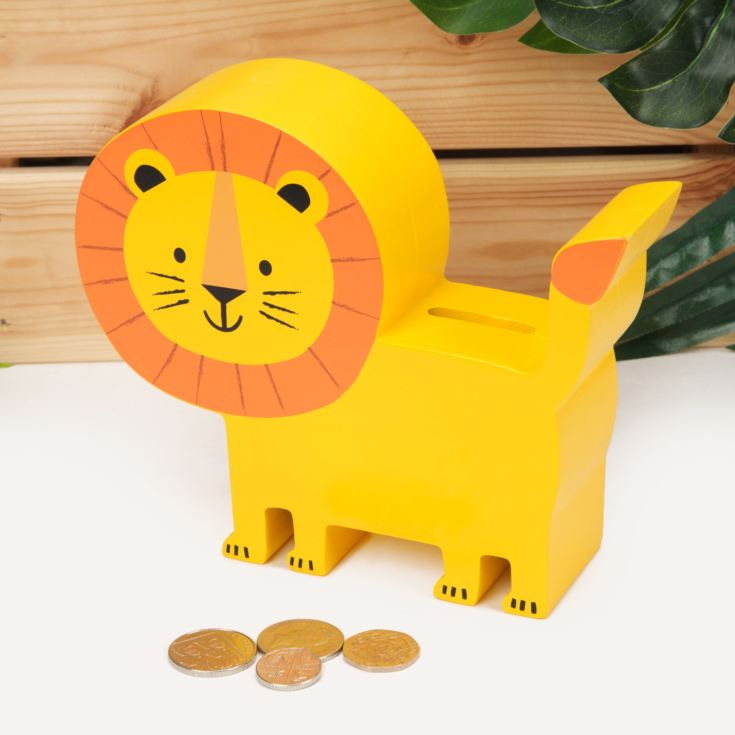 Jungle Baby London the Lion Wooden Money Box product image