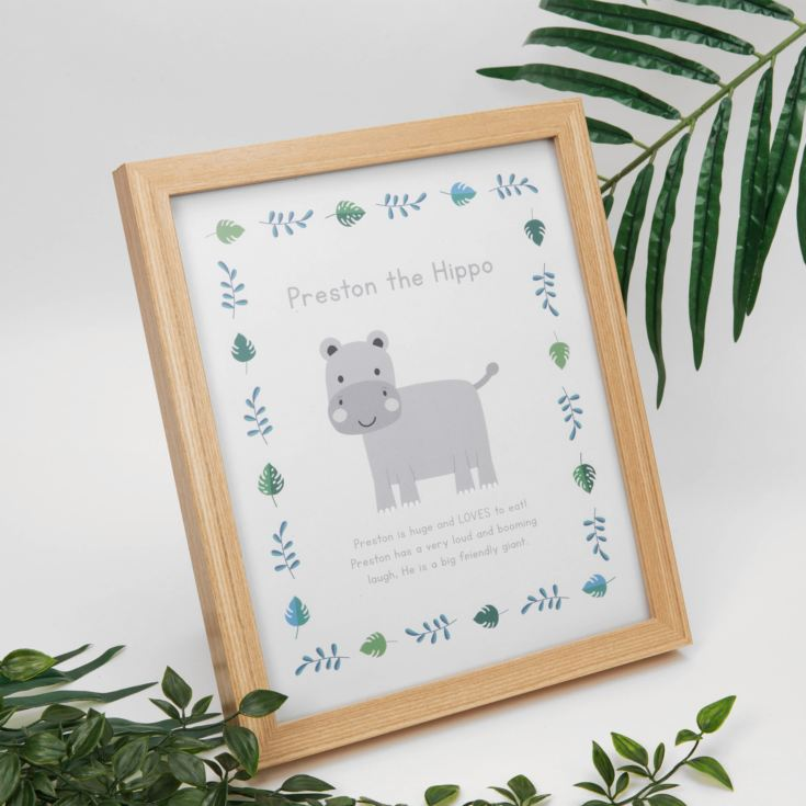 Jungle Baby A4 Wooden Frame Print - Preston the Hippo product image
