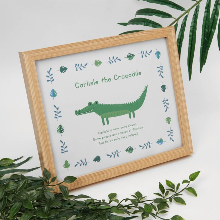 Jungle Baby A4 Wooden Frame Print - Carlisle the Crocodile product image