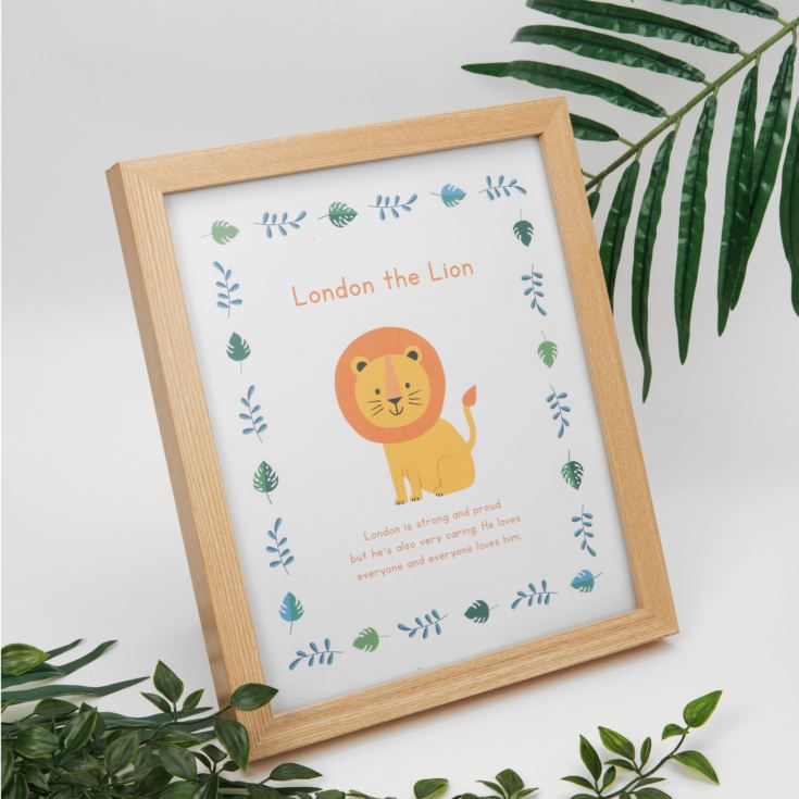 Jungle Baby A4 Wooden Frame Print - London the Lion product image