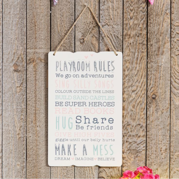 Love Life Rectangular Plaque - Playroom Rules product image