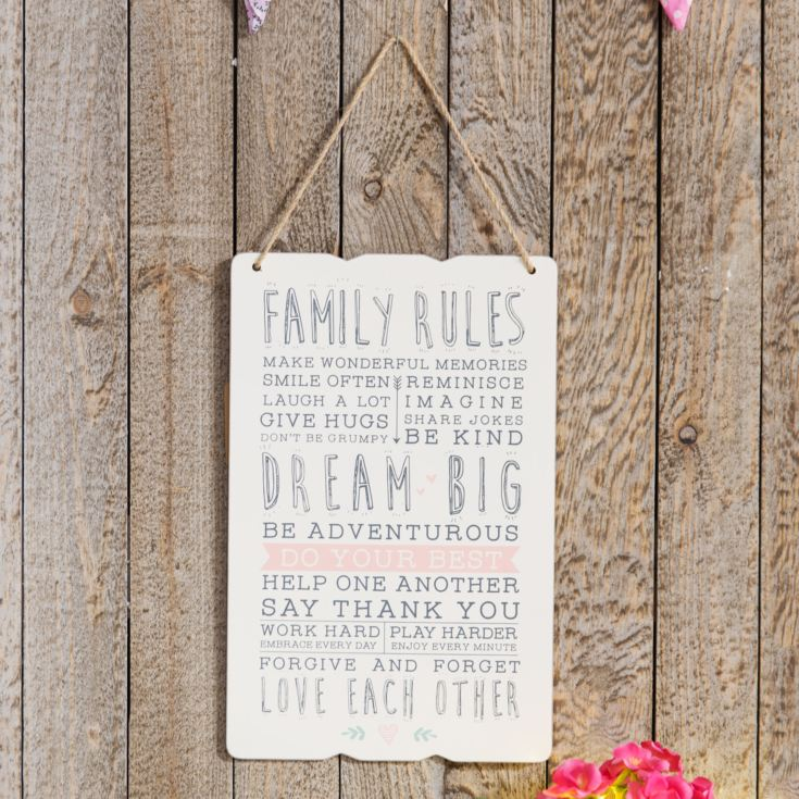 Love Life Rectangular Plaque - Family Rules product image