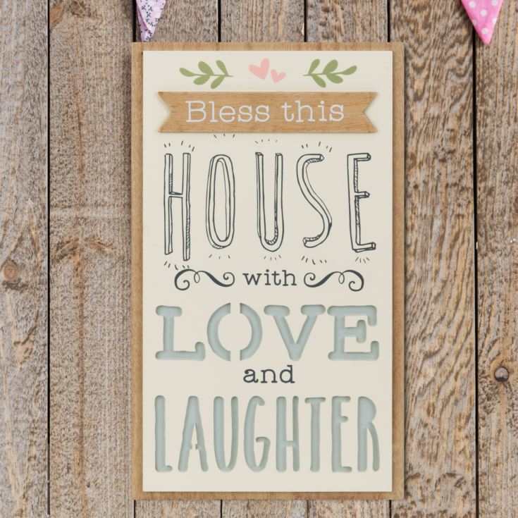 Love Life Rectangular Plaque - House, Love & Laughter product image