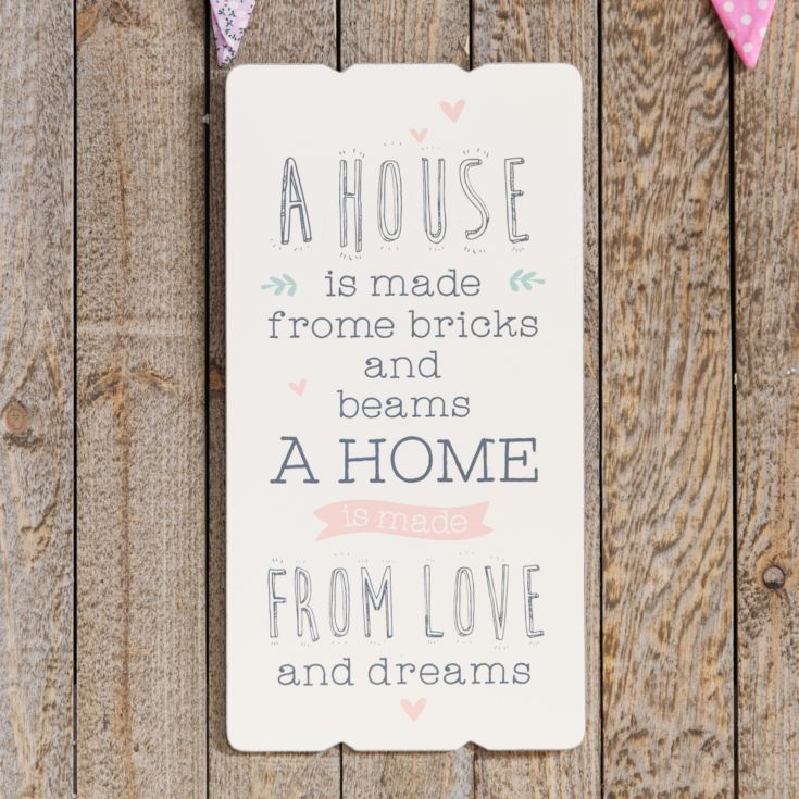 Love Life Rectangular Plaque - A House Is Made From Bricks product image