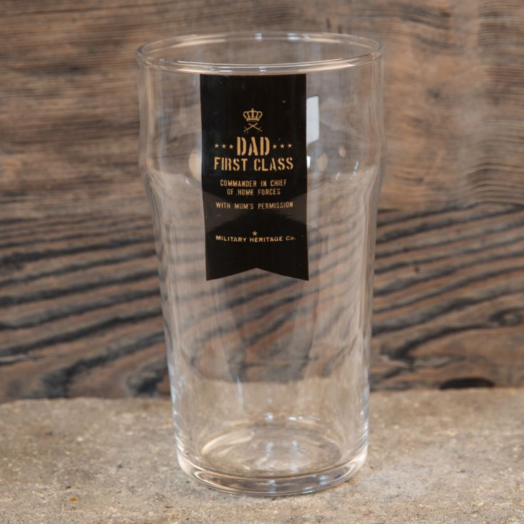 Military Heritage Beer Glass - Dad First Class product image