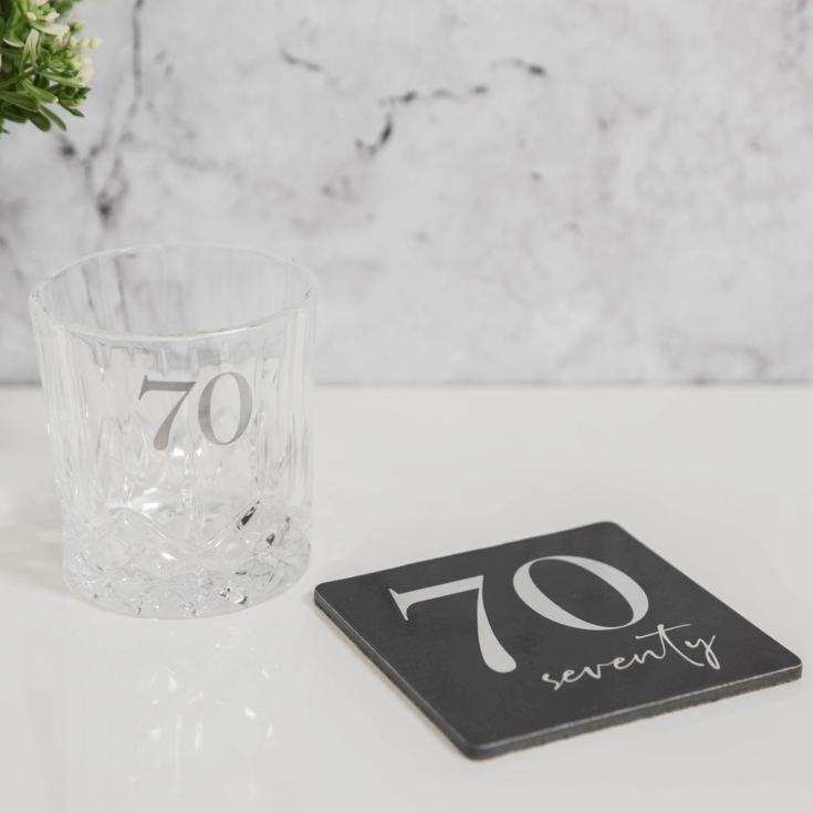 Milestones Cut Glass Whisky Tumbler & Coaster - 70 product image