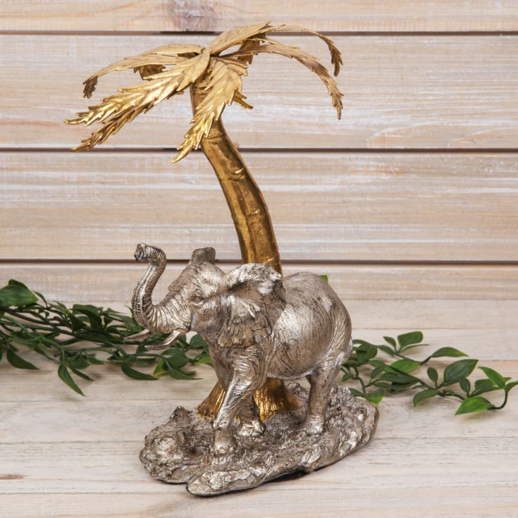 Naturecraft Collection - Elephant Under a Palm Tree Figurine product image
