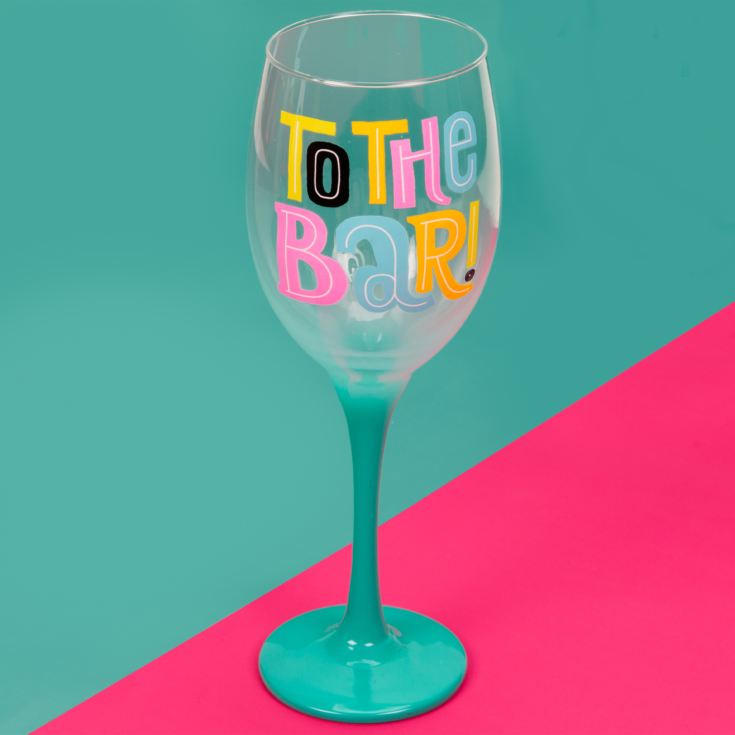 Neon Pop Wine Glass with Ombre Blue Stem 'To The Bar' product image