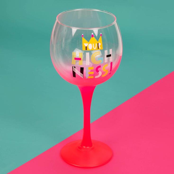 Neon Pop Gin Glass with Ombre Pink Stem - Your Highness product image