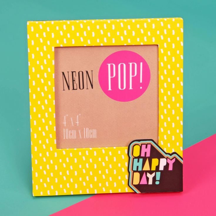 "4"" x 4"" - Neon Pop Photo Frame Neon Yellow - Oh Happy Day product image"