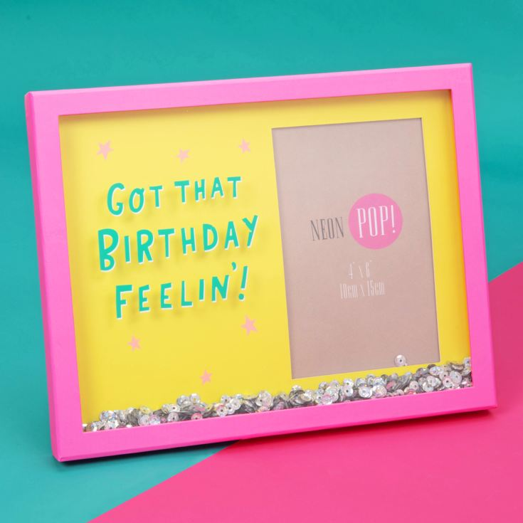 "4""x6"" - Neon Pop Shaker Sequin Frame - That Birthday Feeling product image"