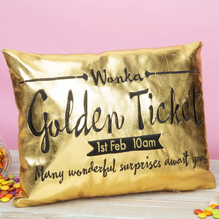 Charlie & The Chocolate Factory Golden Ticket Cushion 40x30 product image
