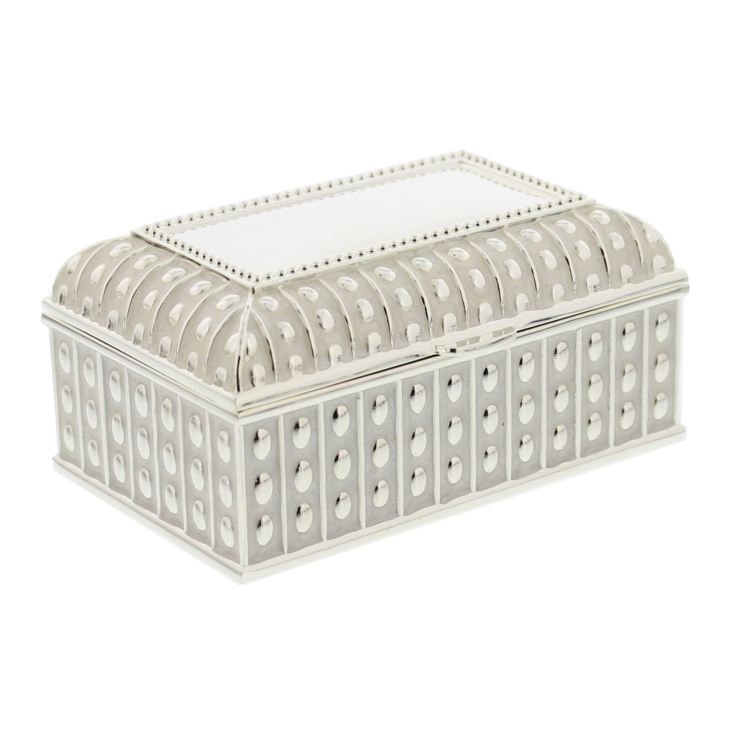 Oblong Silverplated & Epoxy Trinket Box with Beaded Edge product image