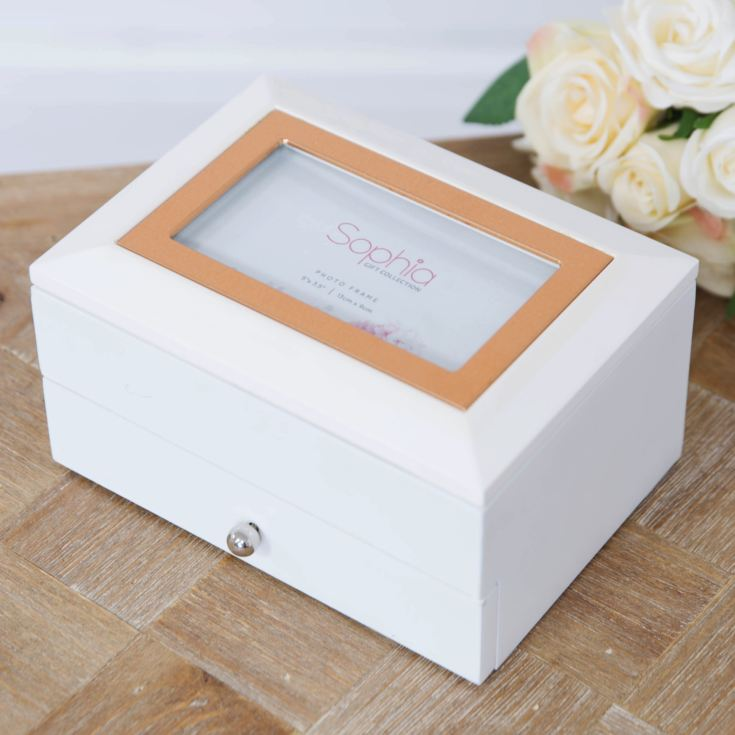 White Jewellery Box with Metal Inlay & Drawer product image