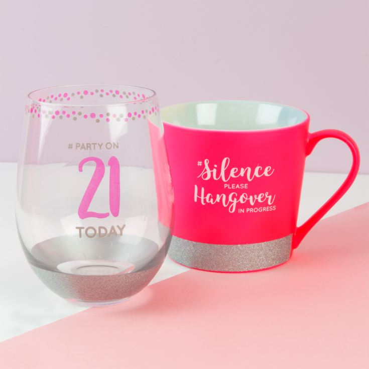 Girl Talk Mug & Stemless Glass - 21 Today/Hangover product image