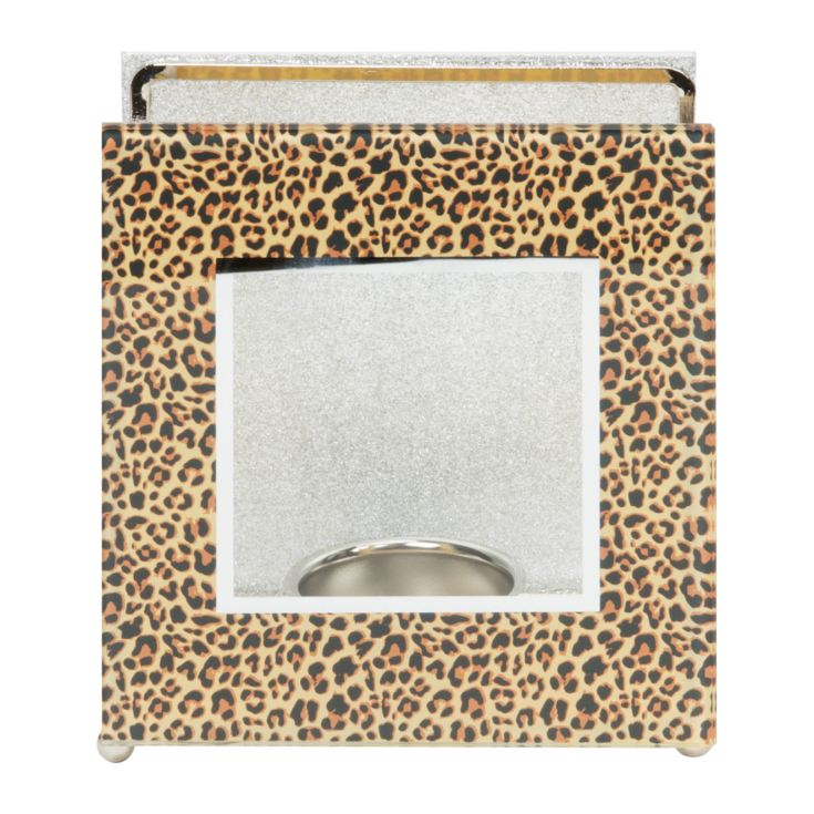 Girl Talk Glass Leopard Print Tealight Holder product image
