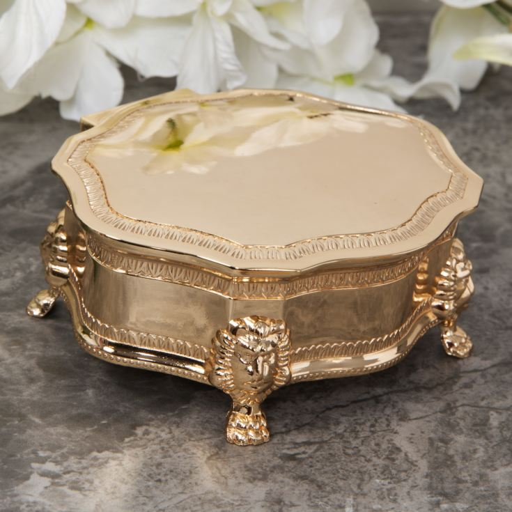 Sophia Gold Plated Look Oval Trinket Box with Lion Feet product image