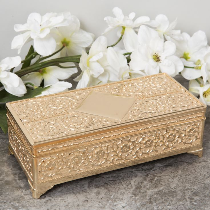 Sophia Gold Plated Look Large Oblong Trinket Box product image