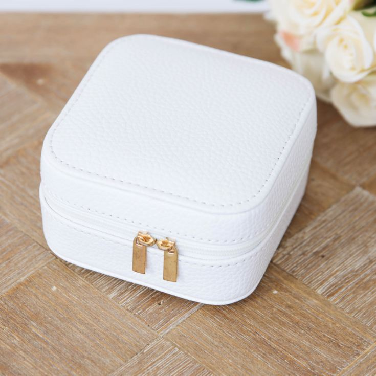 Sophia Small White Jewellery Box with Rose Gold Finish Zip product image