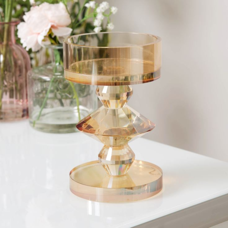 Estella Heavy Champagne Cut Glass Candle Holder 16cm product image