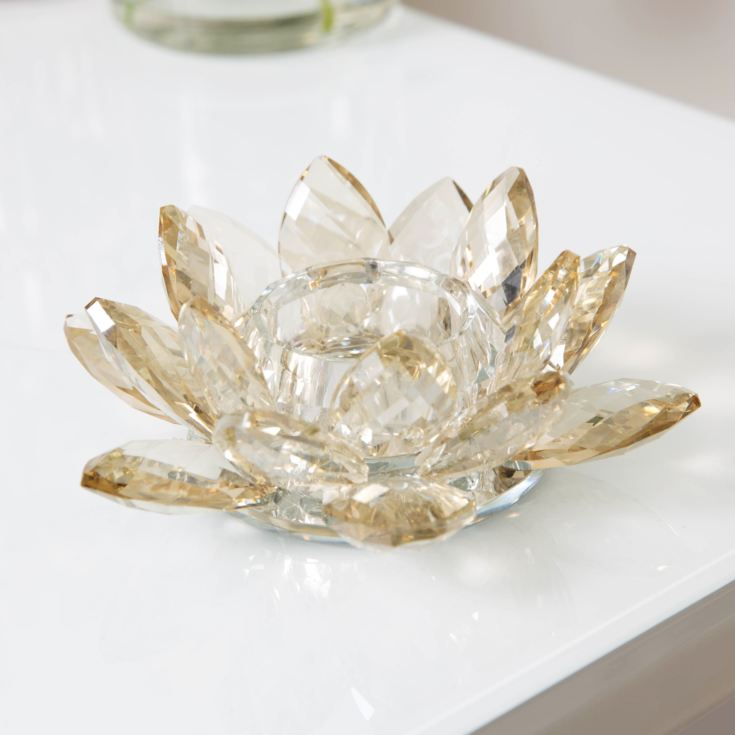 Estella Champagne Cut Glass Flower Tealight Holder 14.5cm product image