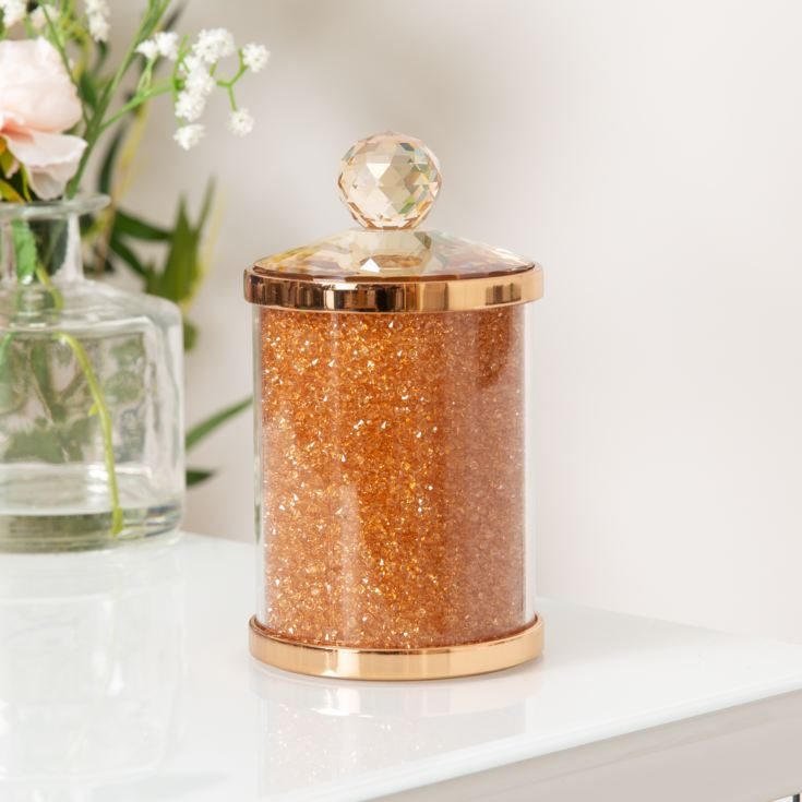 Estella Rose Gold Finish Metal, Glass & Crystal Trinket Box product image