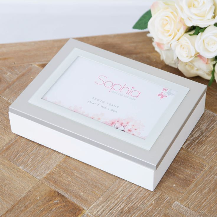 "Sophia Jewellery Box with Photo Frame 6"" x 4"" Lid - White product image"