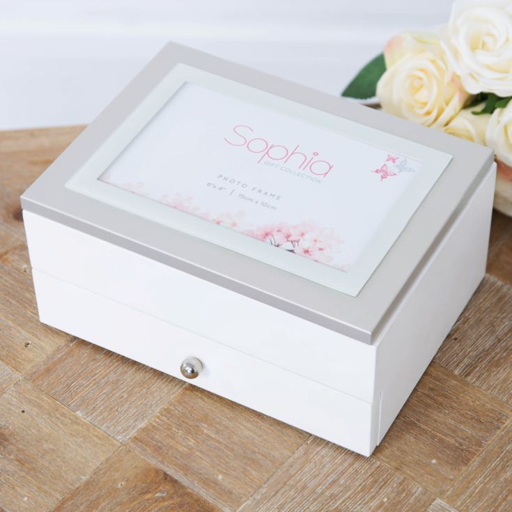 "Sophia Jewellery Box with Photo Frame 6"" x 4"" Lid & Drawer product image"