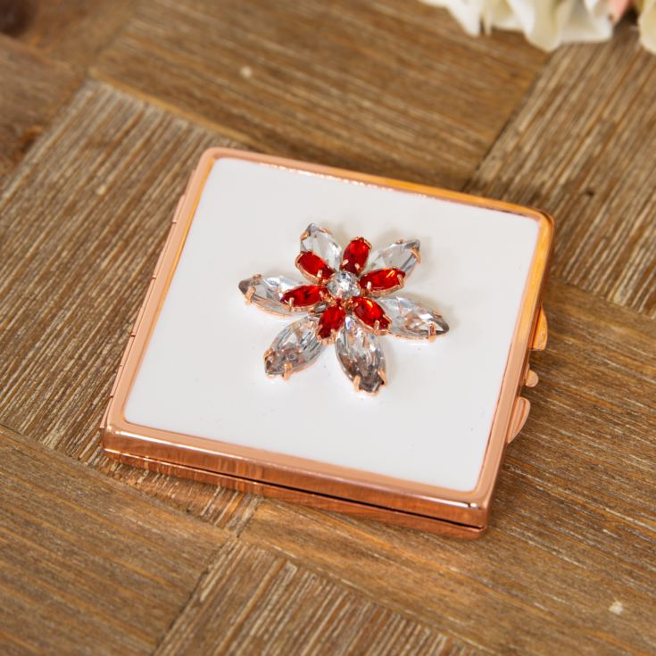 Sophia Rose Gold Compact Mirror - Crystal Flower Design product image