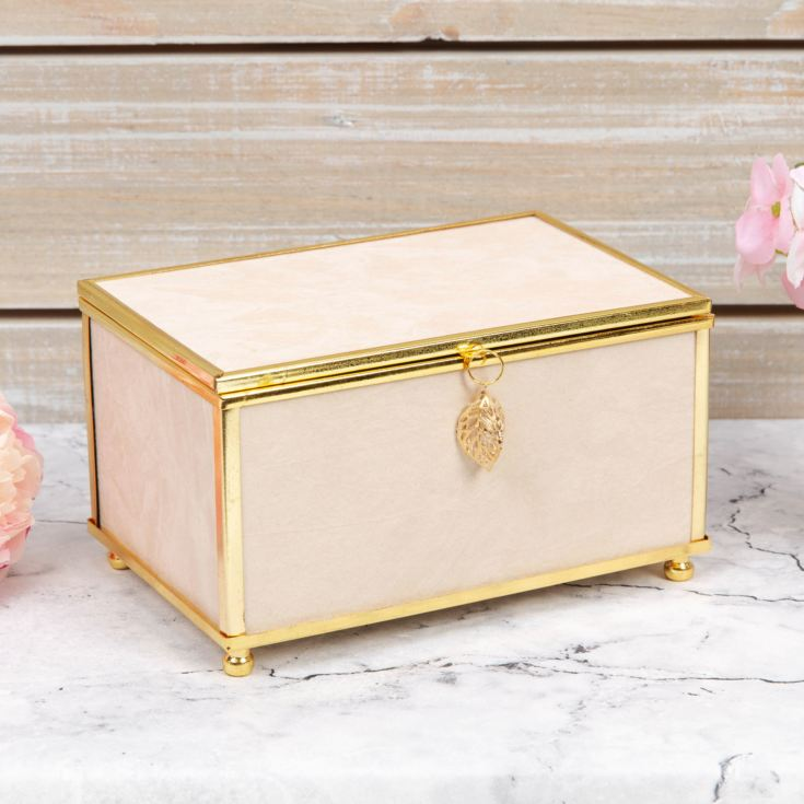 Sophia Nude Jewellery Box with Gold Leaf Detail - Small product image