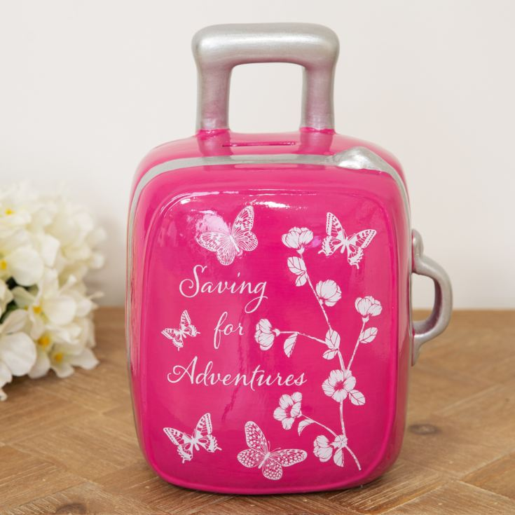 Sophia Pink Butterfly Suitcase Money Bank product image