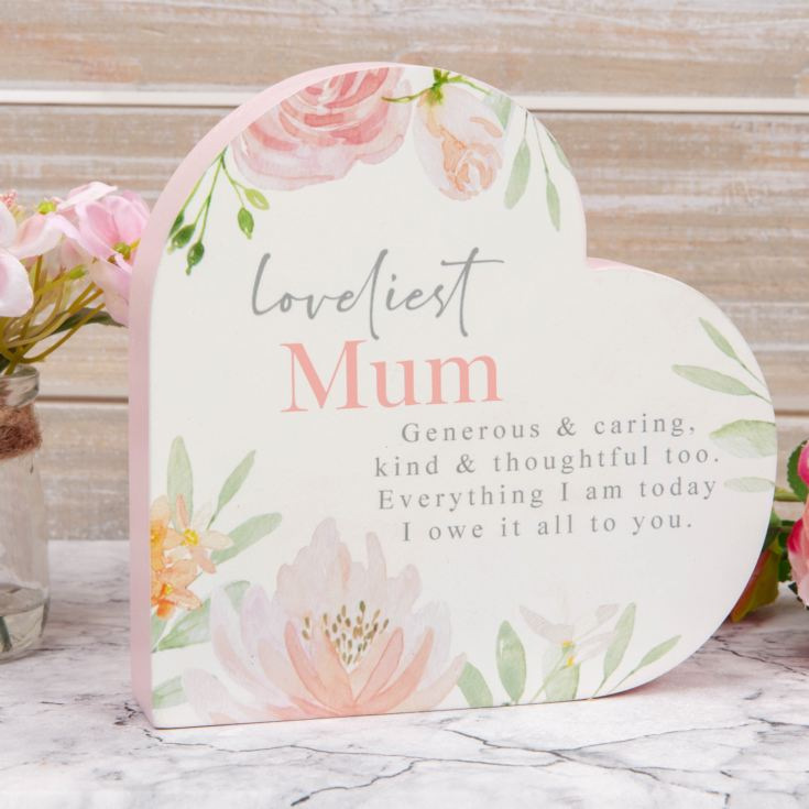 Sophia Wooden Heart Mantel Plaque - Loveliest Mum product image