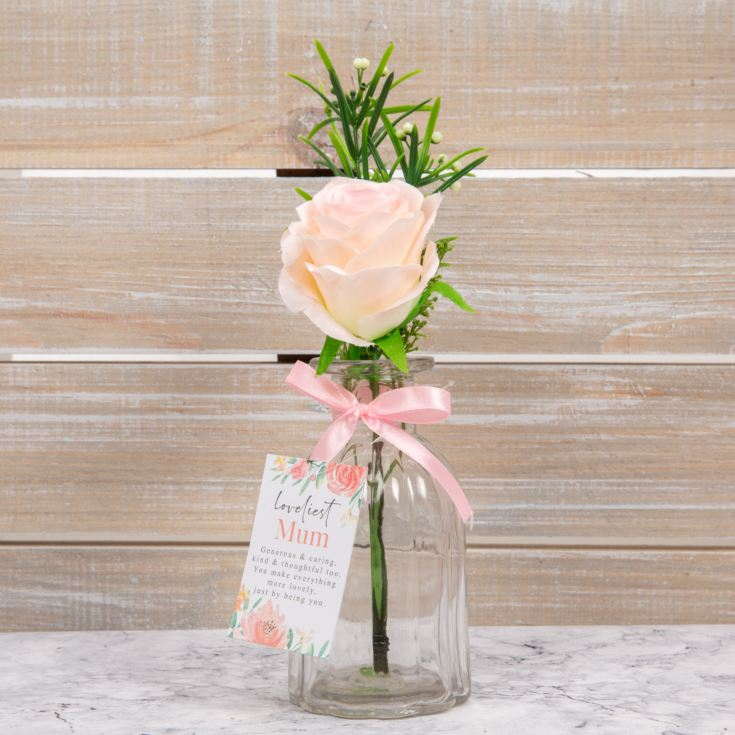 Sophia Artificial Pink Rose in Glass Vase - Loveliest Mum product image