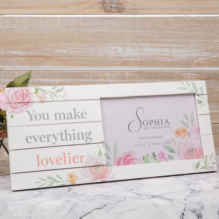 "6"" x 4"" - Sophia Wooden Floral Photo Frame - Lovelier product image"