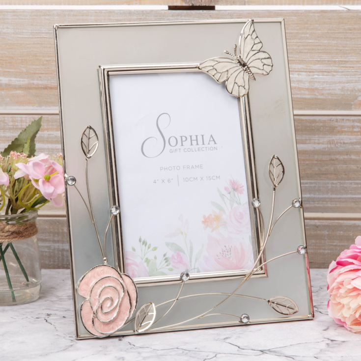 "4"" x 6"" Sophia Frosted Glass & Wire Photo Frame - Butterfly product image"