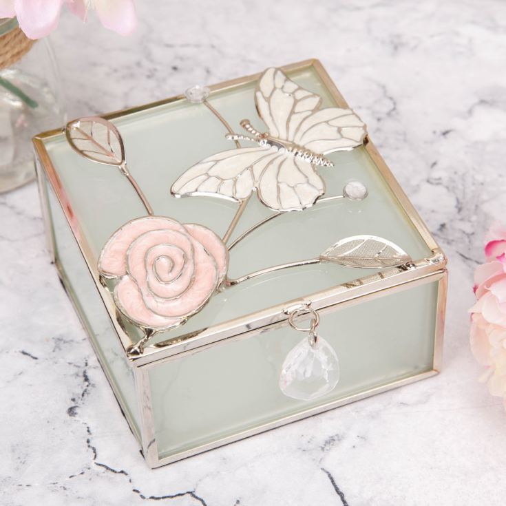 Sophia Frosted Glass & Wire Trinket Box - Butterfly product image