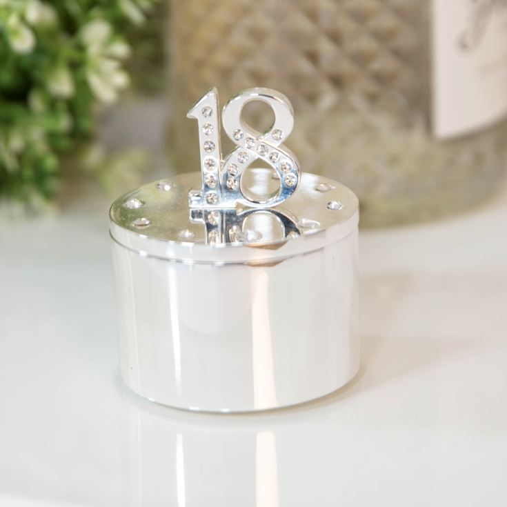 Milestones Silver Plated Trinket Box with Crystals - 18 product image