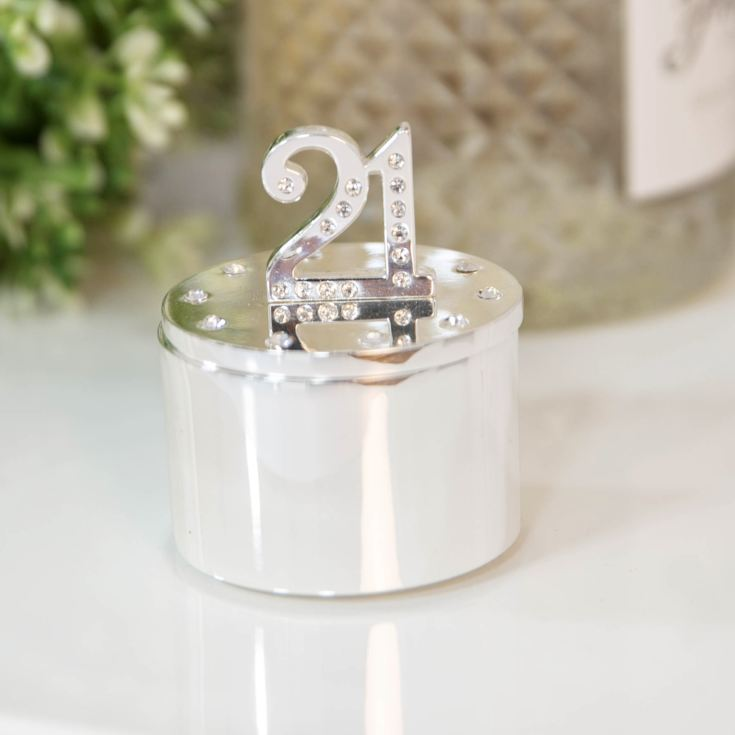 Milestones Silver Plated Trinket Box with Crystals - 21 product image