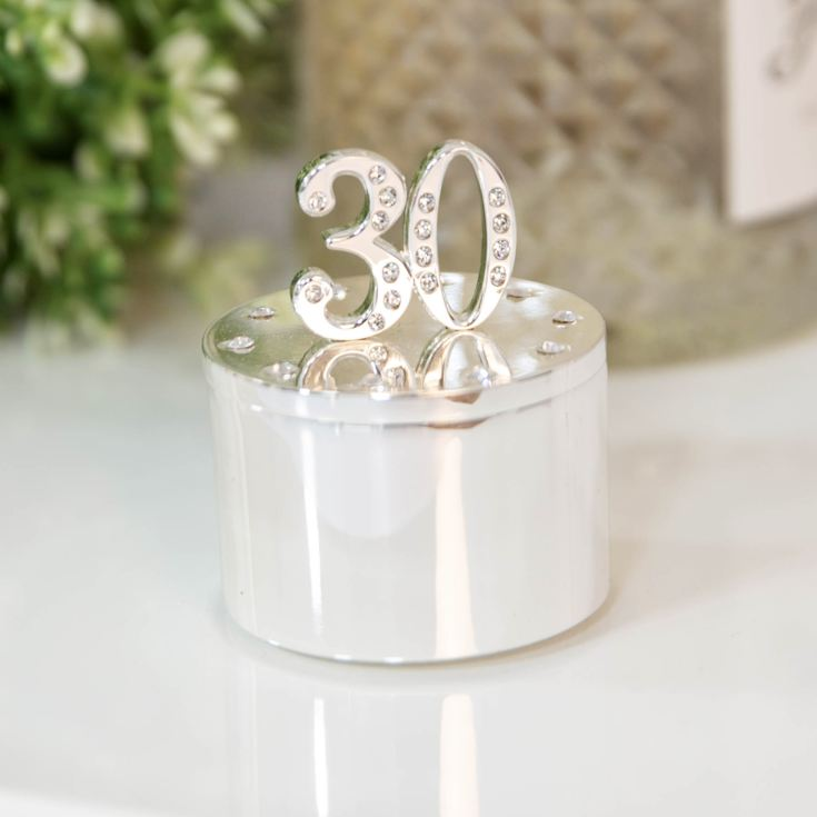 Milestones Silver Plated Trinket Box with Crystals - 30 product image