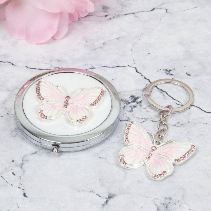 SOPHIA® Pearl White Epoxy Butterfly Compact & Keyring Set product image