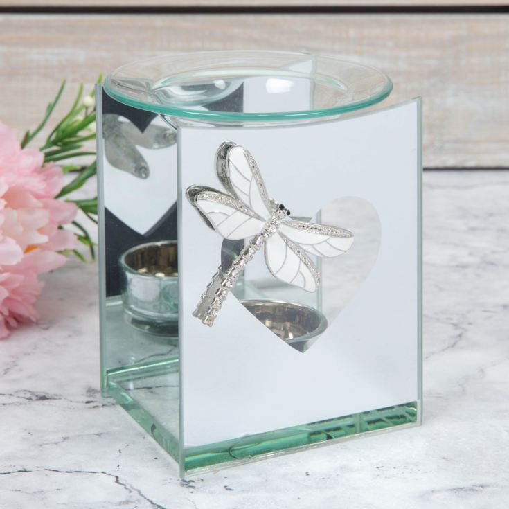 SOPHIA® Mirror Glass Tealight Oil Burner with Dragonfly product image