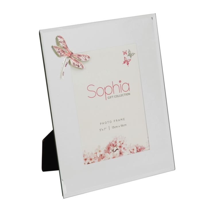 "5"" x 7"" - Sophia Pink Crystal Dragonfly Glass Photo Frame product image"