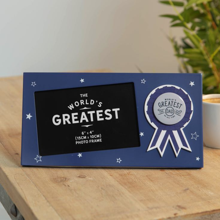 "6"" x 4"" - World's Greatest Dad Rosette Photo Frame product image"