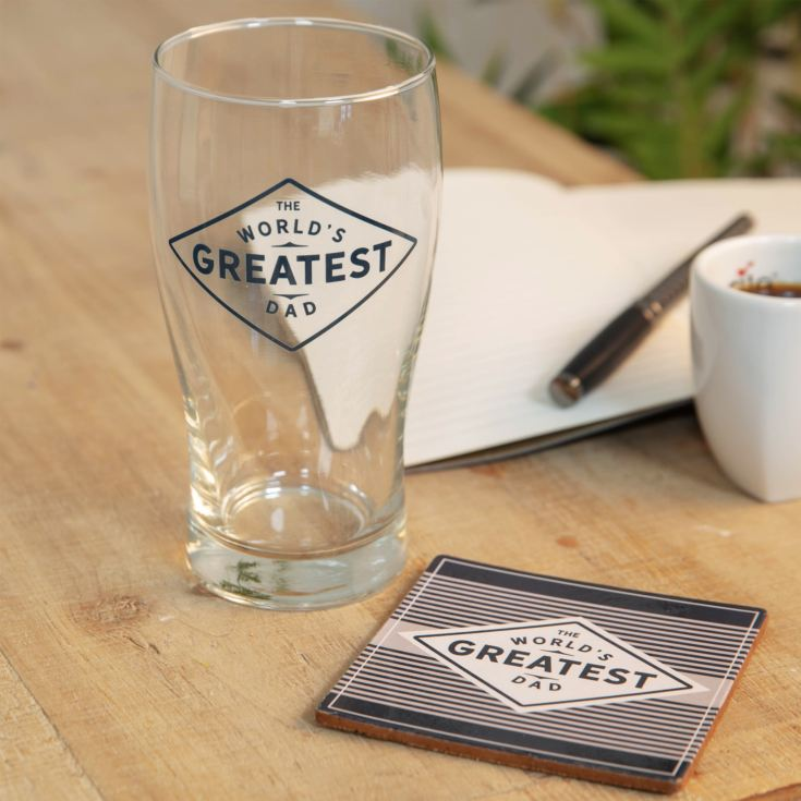 World's Greatest Dad Pint Glass & Coaster Gift Set product image