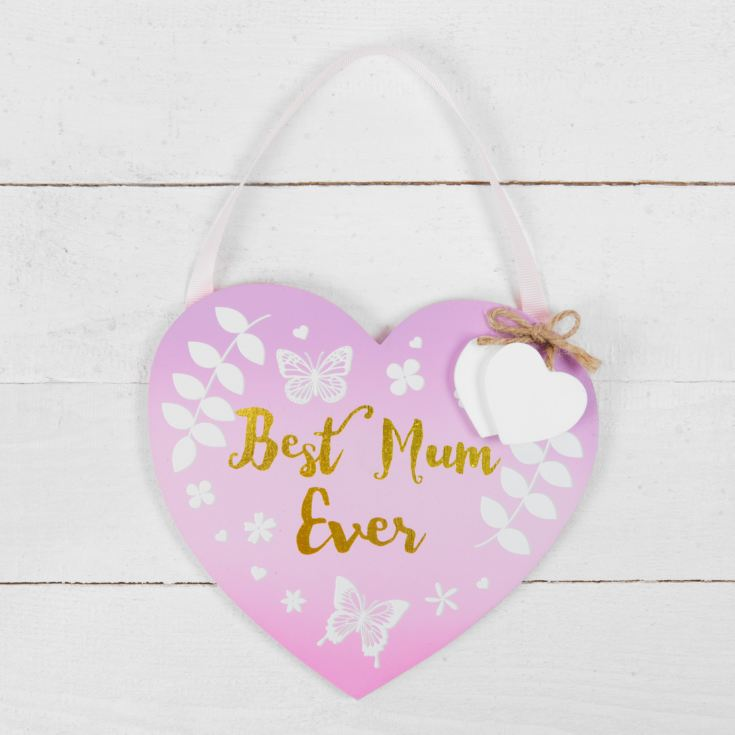 Best Mummy Ever Ombre Pink Hanging Heart Plaque product image